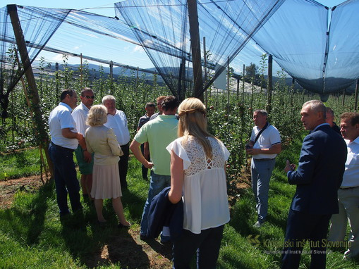 Visitors in the Experimental Orchard at Brdo near Lukovica