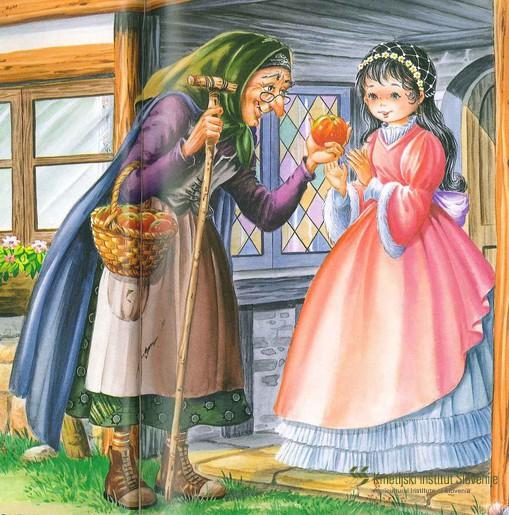 V pravljici bratov Jacoba in Wilhelma Grimm Sneguljčica in sedem palčkov naj bi se Sneguljčici v grlu zataknil košček jabolka, zaradi česar je prenehala dihati. Pravi vzrok njenih težav pa bi lahko bil v močni alergijski reakciji organizma z oteklim grlom in posledično oteženim dihanjem. Med alergologi se je za tovrstno in druge podobne alergijske reakcije uveljavil termin 'sindrom Sneguljčice'.